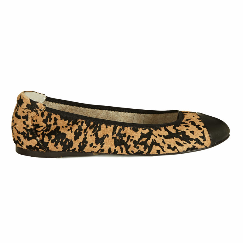 Harrow - Leopard Print Flat Shoes with Black Cap