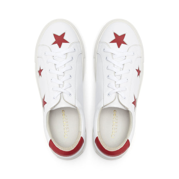Womens Trendy Designer White Leather Trainers