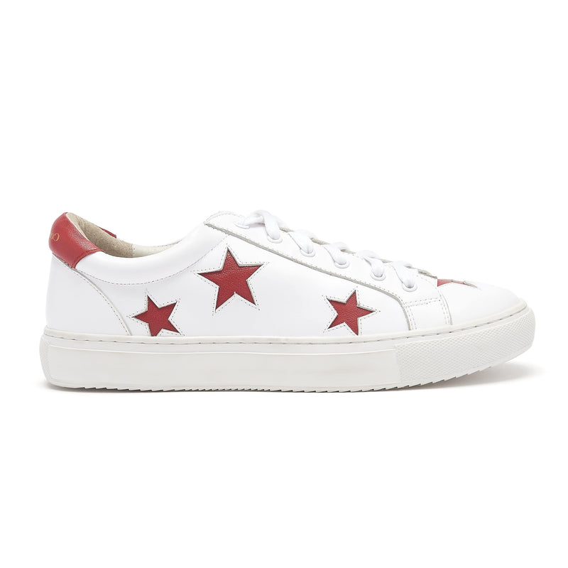 Hoxton - White with Red Stars Leather Trendy Designer Trainers - Sneakers