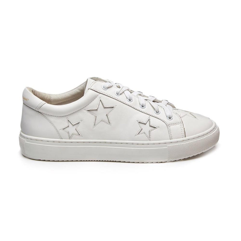 Hoxton - White with White Stars Leather Trainers