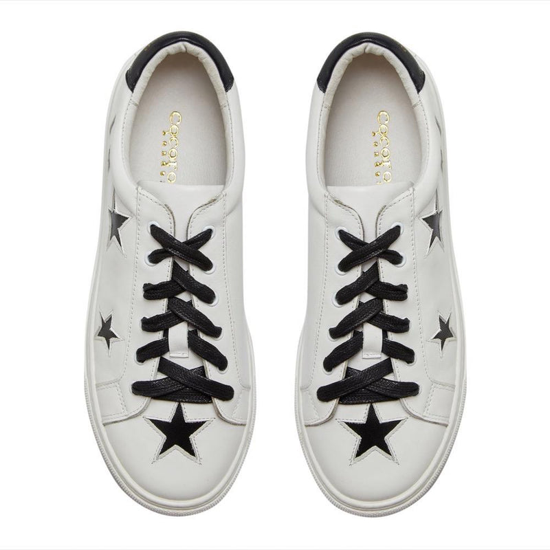 Cocorose London white leather trainers with black stars | stylish and comfy fashion trainers