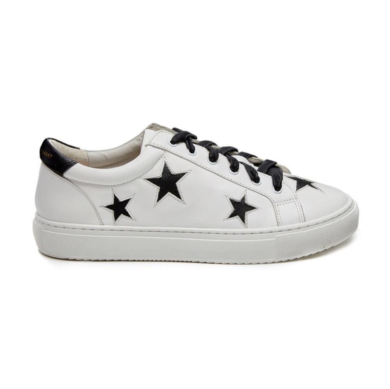 White leather trainers with black stars | women's designer trainers and sneakers