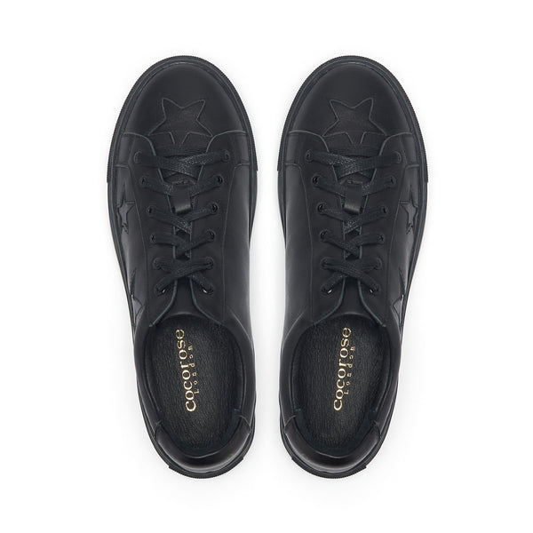Hoxton - Black with Black Stars Leather Trainers