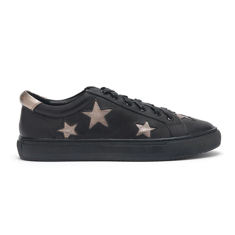 Hoxton - Black with Pewter Stars Leather Trainers
