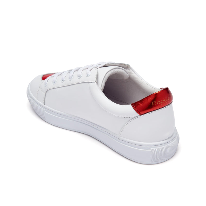 Hoxton - White  with Red Hearts Leather Trainers
