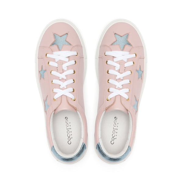 Birds eye view of Cocorose Pastel Pink leather trainers with Metallic Blue stars