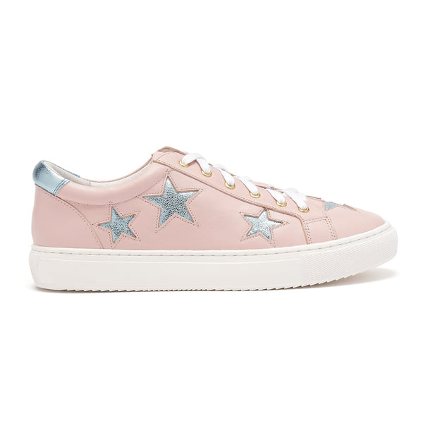 Cocorose Pastel Pink leather trainers with Metallic Blue stars