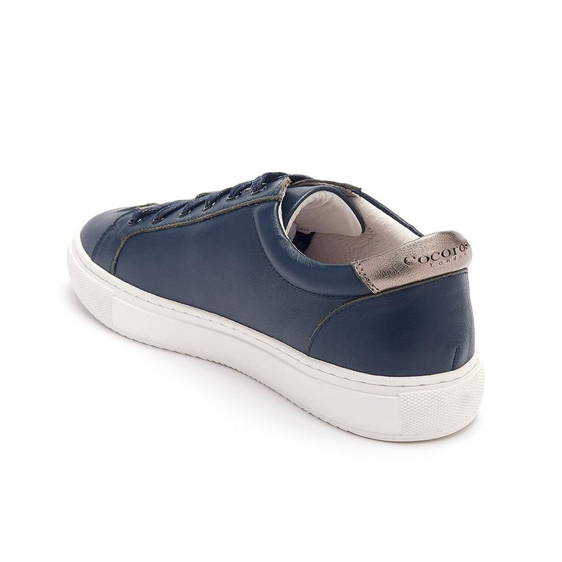 Womens Navy Leather Trainers with Pewter stars