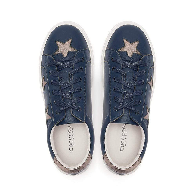 Birds Eye view of Navy leather trainers