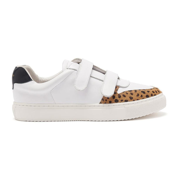 Hoxton - Velcro - White, Leopard and Black Leather Trainers
