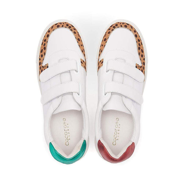 Gucci style red and green metallic backs, white leather trainers with leopard print toe