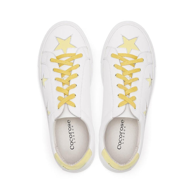 Hoxton - White  with Yellow Stars Leather Trainers