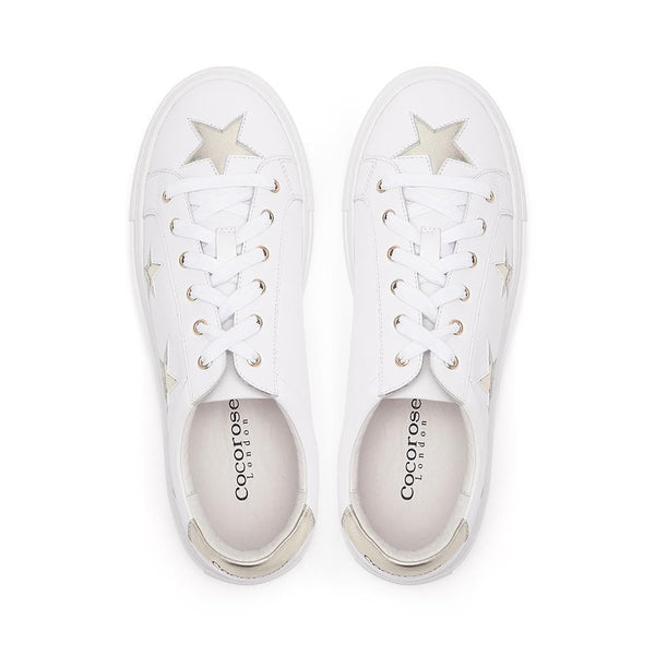 Hoxton - White  with Gold Stars Leather Trainers