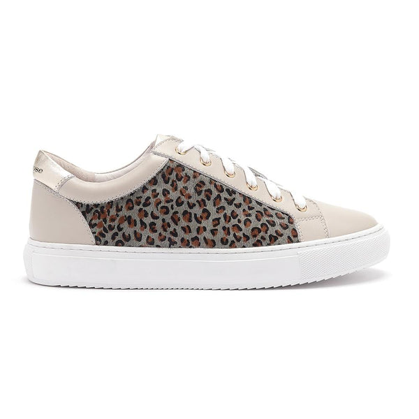 Hoxton - Dove Grey  with Grey Leopard Leather Trainers