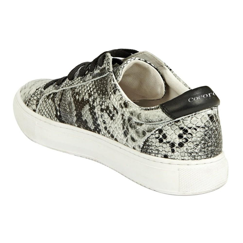 Grey snakeprint trainers