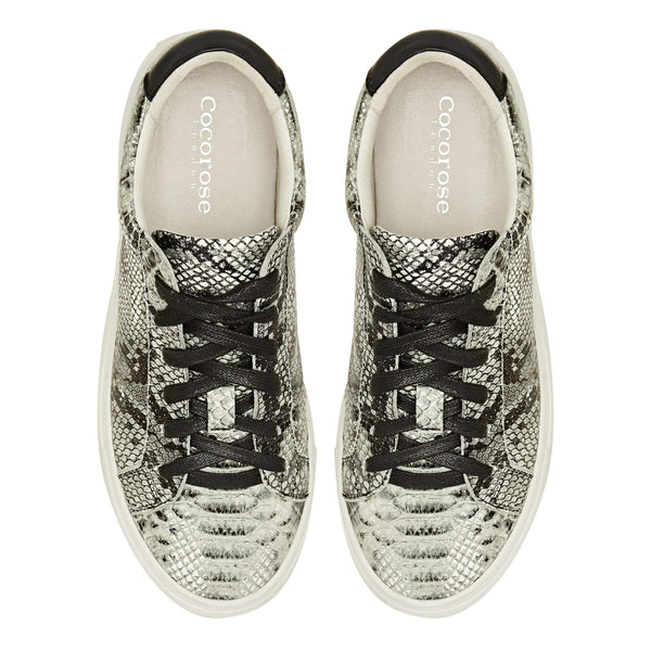 MORE COMING - Hoxton - Grey Snakeprint Leather Trainers