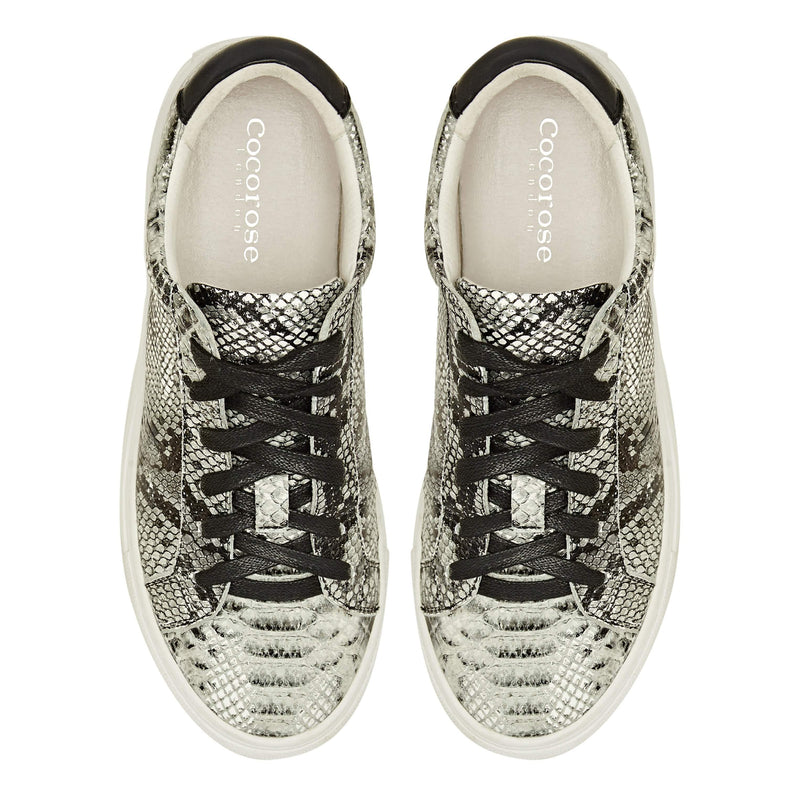 Ladies leather snake print trainers