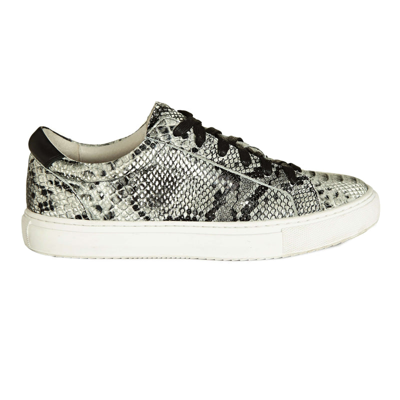 Grey Snakeprint Trainers - Women's Designer Leather Trainers