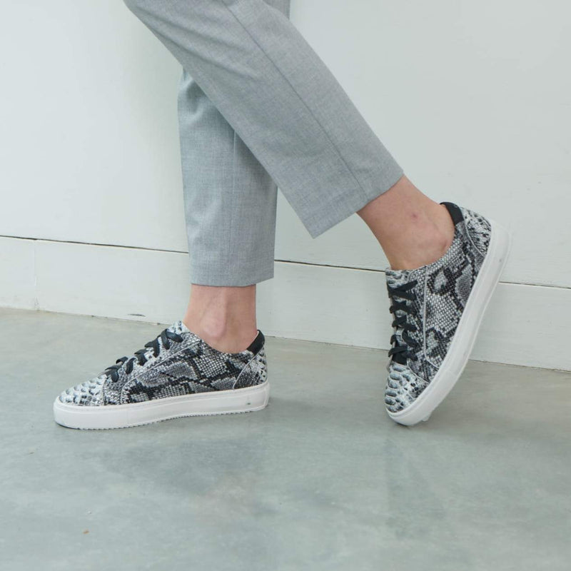 Hoxton - Grey Snakeprint Leather Trainers
