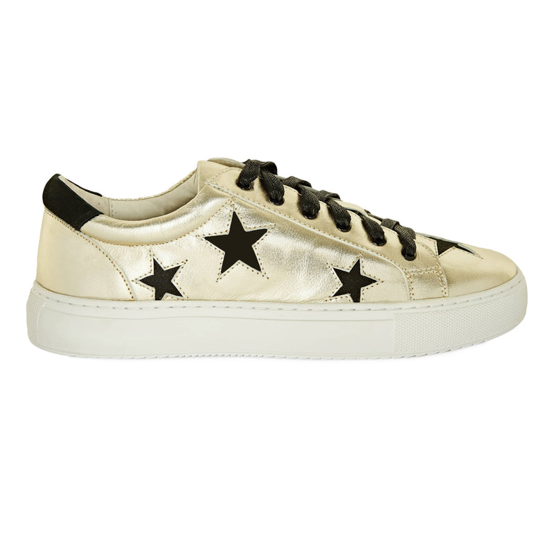 Hoxton - Gold with Black Stars Ladies Leather Trainers \ Sneakers