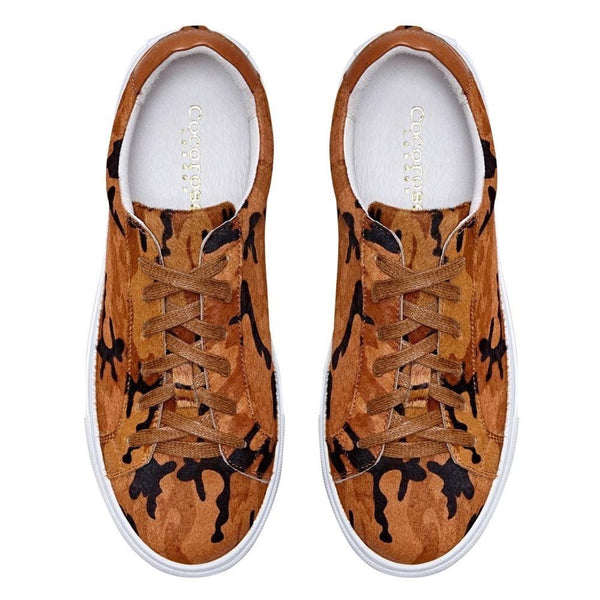 Hoxton - Camo Brown Leather Trainers