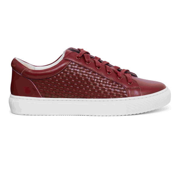 Hoxton Burgundy Woven Leather Fashionable Womens Trainers