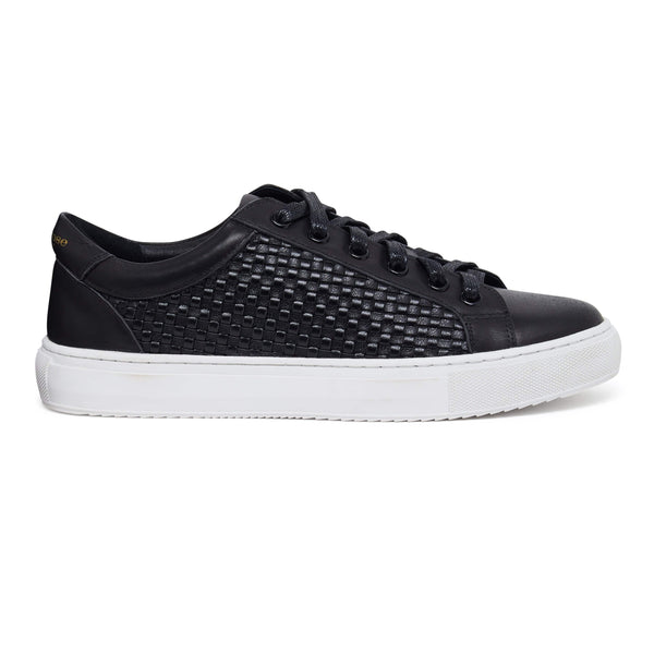 Hoxton - Black Woven Womens Fashionable Leather Trainers
