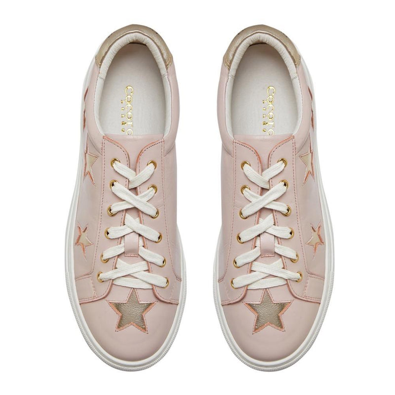 Birds Eye Image of Hoxton - Pastel Pink with Gold Stars Womens Leather Trainers - Sneakers