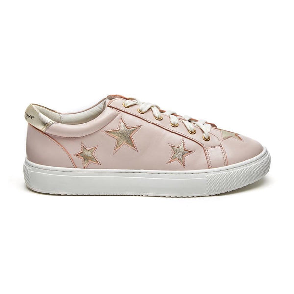 Hoxton - Pastel Pink with Gold Stars Womens Leather Trainers - Sneakers