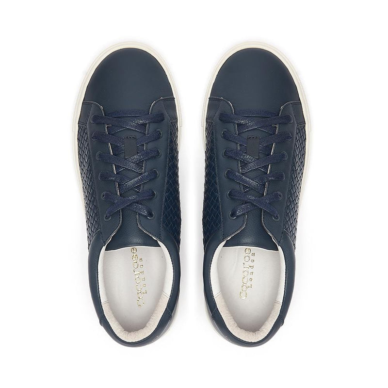 Soft and comfortable navy leather trainers