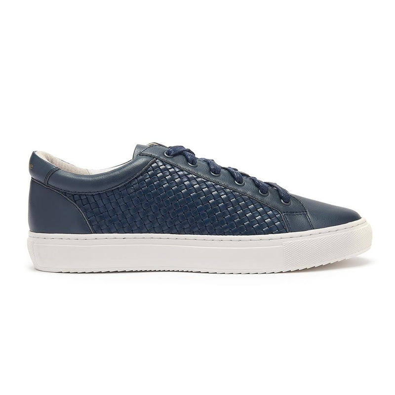 Hoxton Navy Leather Trainers with Woven Side Panels