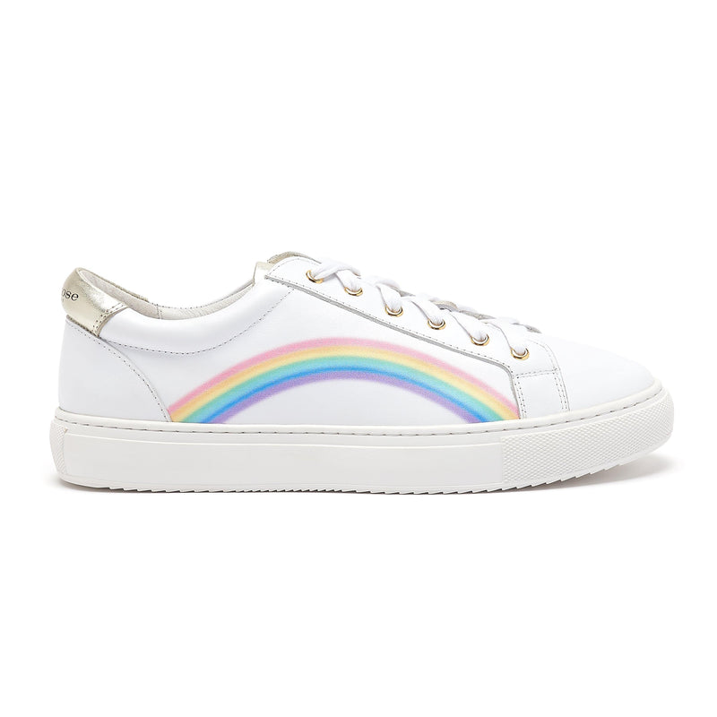 Cocorose London Hoxton Rainbow Trainers | White Leather Rainbow Trainers | Childrens Mental Health