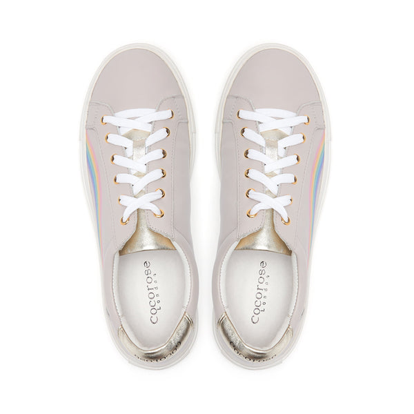 Shoes that raise money for childrens mental health | Rainbow shoes | White and Grey leather rainbow trainers