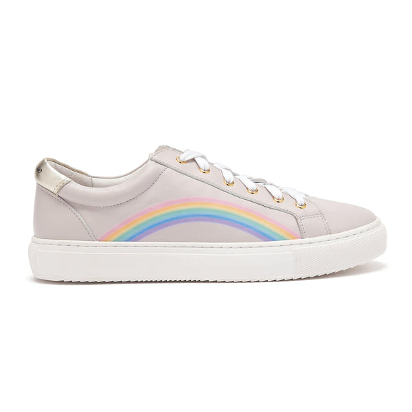 Grey Leather Rainbow Trainers | Cocorose London Hoxton Trainers | Womens Designer Trainers