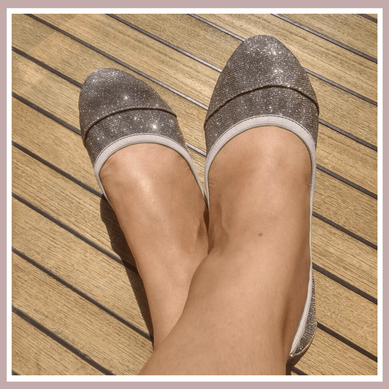 Barbican Desert Gold Foldable Ballerinas | Glittery silver and gold