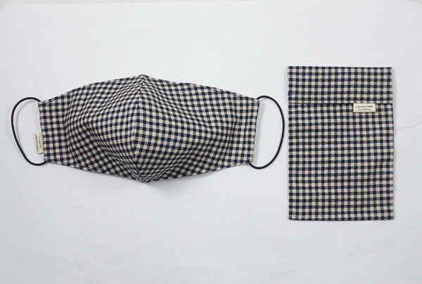 Gingham print black FACEMASK and face covering with matching storage pouch