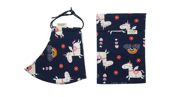 Children's Cotton Face Mask with Filter Pocket and Matching Pouch - Navy Unicorns