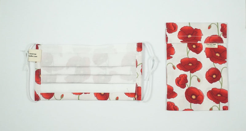 Pleated Cotton Face Mask with Nose Wire and Matching Pouch - Poppies