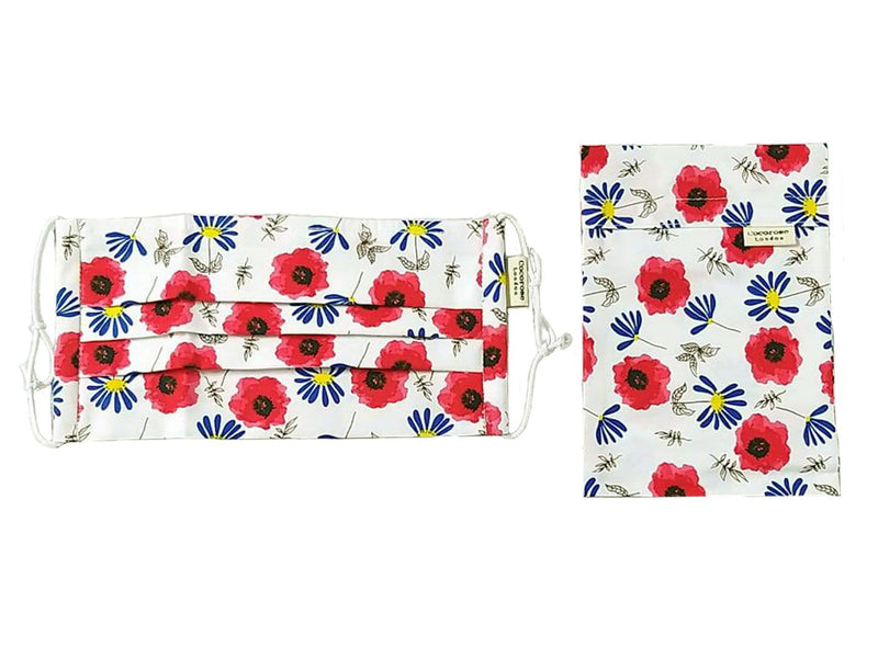 Pleated Cotton Face Mask with Nose Wire and Matching Pouch - Poppies and Daisies