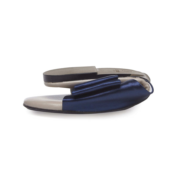 London Fields Navy Satin Bow Sandals