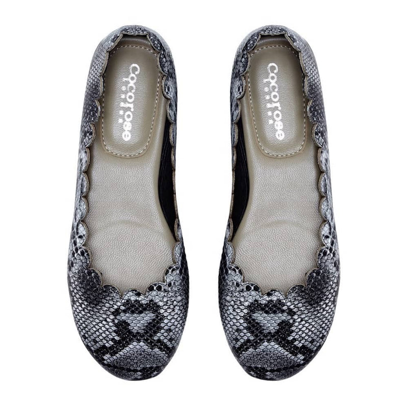 Mayfair - Grey Snakeprint Scalloped Leather Ballerinas