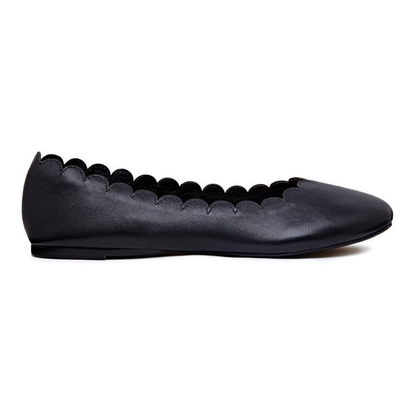 Black Leather Scalloped Ballerinas