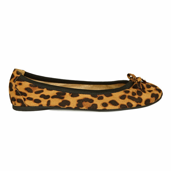 Comfortable Fold Up Ballet Pump Leopard with bow