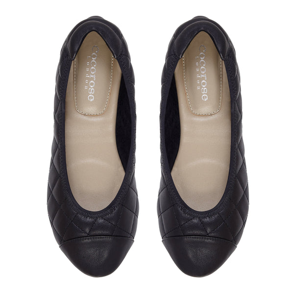 Piccadilly - Quilted Black Ballerinas