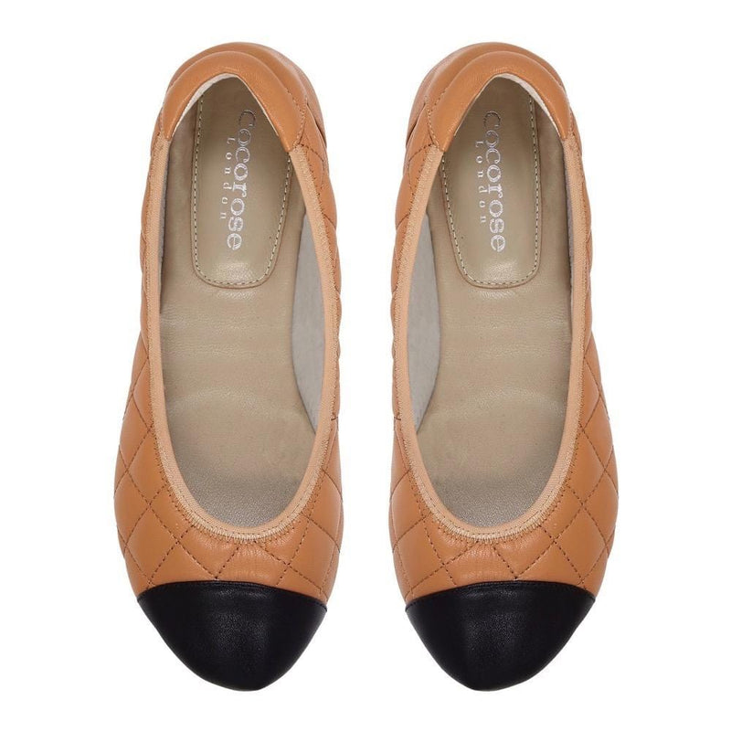 Piccadilly - Tan Quilted Leather Ballet Flats