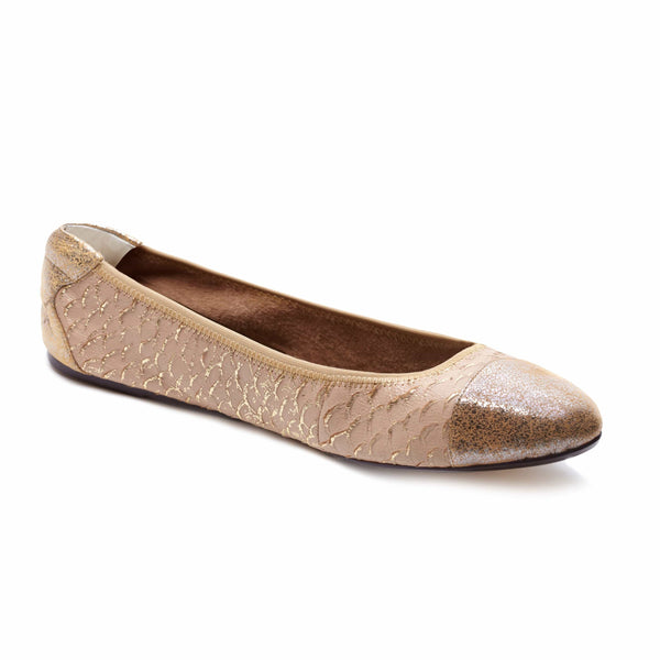 Cocorose London Putney Nude and Gold Foldable Leather Ballerinas