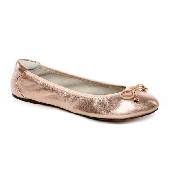 Sandringham - Rose Gold Leather Ballet Flats