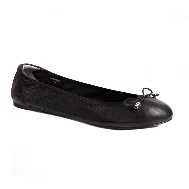 Sandringham - Black Leather Ballet Pumps - Womens Ballet Flats