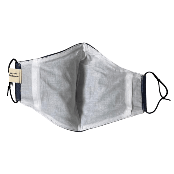 Silk Face Mask with Filter Pocket and Matching Pouch - Blue-Grey