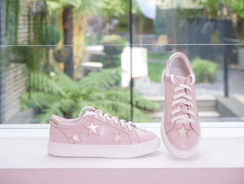 Lifestyle image of Pastel Pink Leather trainers